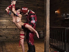 Tied up babe Ariana Marie ravished by a fellow's in a costume