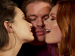 Ella Hughes and her cute friend like to share a delicious dick
