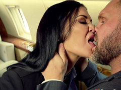 Lucky guy finally gets to fuck busty babe Jasmine Jae in the plane