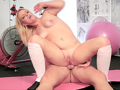 Chubby blonde fucked well by a handsome bald fellow