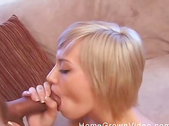 Blonde chick with a nice tattoo spreads her legs for a dick