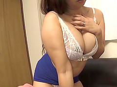 Kaori lifts up her blue skirt for an incredible sex game