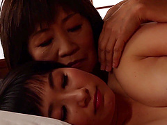 Elderly Japanese woman cannot resist a hot babe's body
