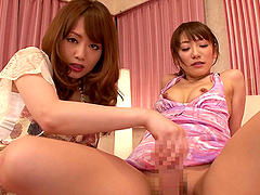 Akiho Yoshizawa enjoys a fat dick while being guided by a hot babe