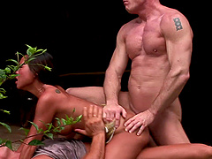 Jade Sin bounces on a cock while choking on a man's prick