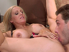 Julia Ann bends over for a handsome lover's massive cock