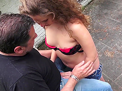Outdoor plowing game with a cock raving babe with curly hair