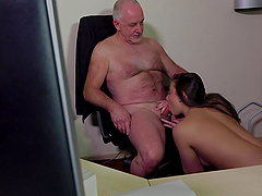 Old guy gets lucky with a stunning brunette chick who wants to fuck