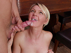 Blonde babe Marie McCray shows off her cock sucking abilities
