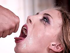 Chloe Scott has a blast while choking on a massive dong