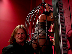 Alektra Blue is a chick in a cage penetrated by a master