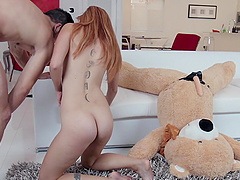 Nasty chick Kadence Marie caught riding a dildo by a fellow