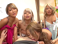 Bunch of Japanese women are curious about a man's erected dong