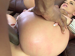 Liza Del Sierra bends over for an interracial anal fuck