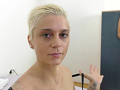 Gorgeous blonde Mila Milan bends over for a swollen penis