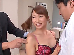 Ogawa Rio wears a cute outfit while making a couple of dicks hard