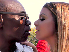 Brooklyn Chase shows off her boobs while sucking a bunch of black rods