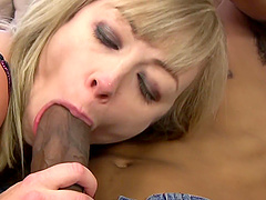 Adrianna Nicole's anus filled with semen after an interracial fuck