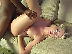Barb Cummings' pussy filled with semen after an interracial fuck