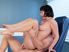 Olive Glass seduces a fellow with her feet for a sex game