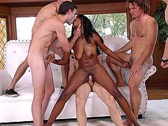 Ebony princess called Daya Knight enjoying her gangbang action