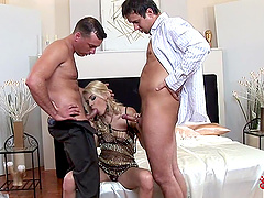 Two fellas dicking Jasmine Rouge and cumming on her milf face