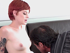 Short-haired Ava Little having her slippery pussy wasted good