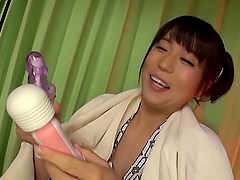 Aroused Matsushita Miori spreading and toying her smooth cunt