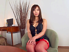 Poking an alluring Asian in sexy red fishnets called Saijou Sara