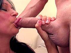 Black-haired bimbo with a sexy tattoo having her cunt drained
