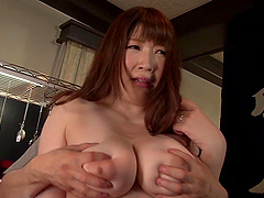 Busty Chitose Saegusa likes when her partner plays with her cunt