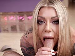 Big and blue-eyed tattooed blonde Karma RX enjoying a cock