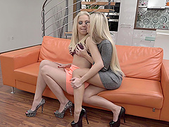Blondies Dido Angel and Julia Parker kissing and undressing each other