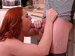Redhead honey Edyn Blair has her face creamed after fucking