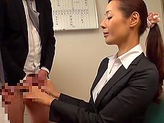 Asian business woman Morishita Mio enjoys swallowing warm cum