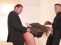 Victoria Summers is blind-folded and between two aroused fellas
