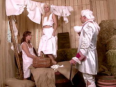 Jessie Volt and Alysa Gap in an awesome threesome in costumes