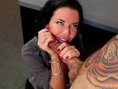 Big-titted black-haired Veronica Avluv enjoying a stiff wiener