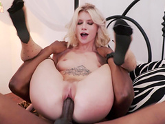 Blonde hottie Arya Fae putting a black wiener in her pussy