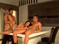 Melissa Ria gets talked into fucking two horny guys until they cum