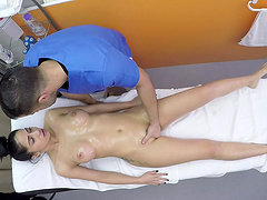 Horny doctor finally gets to fuck hot Julia de Luca in his office