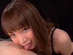 Skinny brunette Suzumura Airi rides a big load of fat pecker
