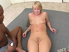 Sexy blonde hottie finally gets to taste a long black pecker