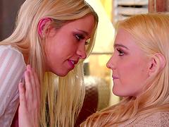 Blonde Kenna James and her friend finally get to masturbate together
