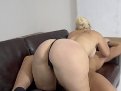 Pretty Debby Pleasure knows how to suck a long dick properly