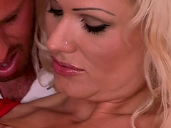 Naughty Sharon Pink gets her wet pussy pounded by a friend
