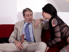 Stunning Gina Valentina pleases a friend by banging with him