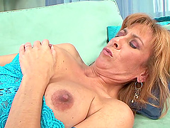 Mature chick Mikela Kennedy gets her hairy pussy fucked hard