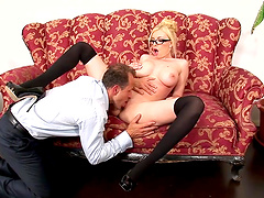 Kinky Dona Bell makes a friend happy by riding his fat dick