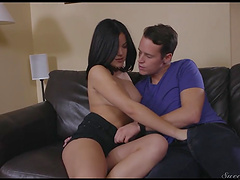 Brunette Kendra Spades moans while her boyfriend screws her